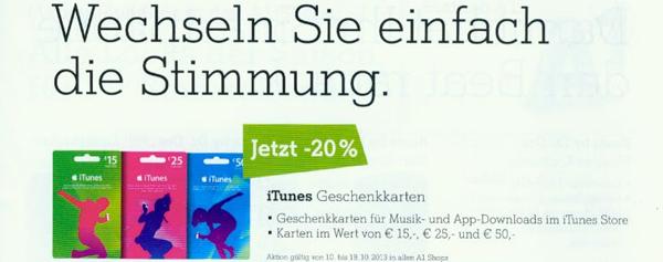 A1: iTunes-Karten bundesweit in allen Shops mit 20% Rabatt kaufen