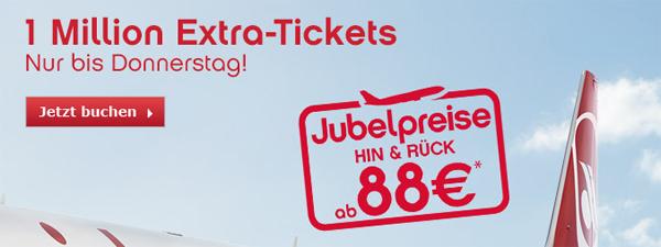 Flugschnäppchen: Jubelpreise bei AirBerlin mit europaweiten Hin- und Rückflügen ab 88 €