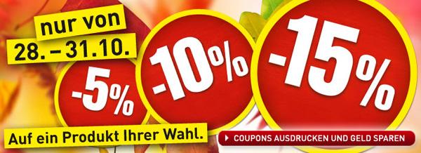 Baumax: bis zu 15% Rabatt auf ein Produkt nach Wahl - bis 31. Oktober