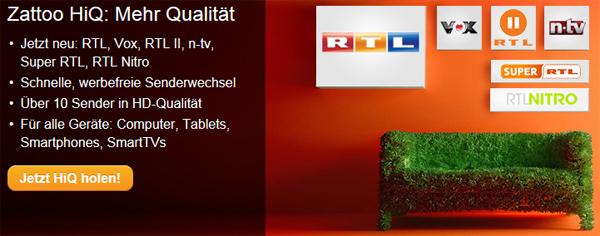 Zattoo HiQ - Online-TV-Anbieter jetzt 2 Monate gratis testen - inklusive HD-Sendern