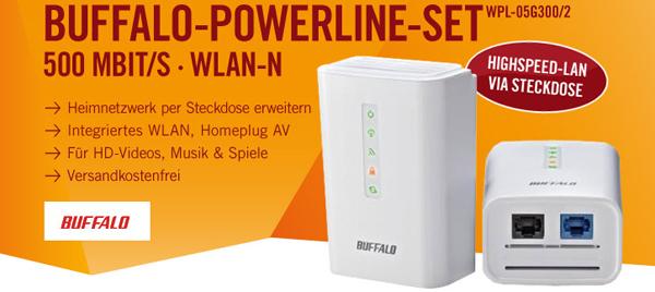 Buffalo AirStation - Powerline-Kit mit 500 MBit/s und WLAN für 49,90 € - 47% sparen