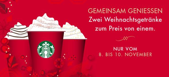 Starbucks: 2 Weihnachtsgetränke zum Preis von 1 - vom 08. bis 10. November