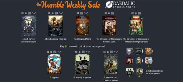 The Humble Weekly Sale mit Spielen von Daedalic Entertainment - z.B. Harvey's New Eyes oder Deponia