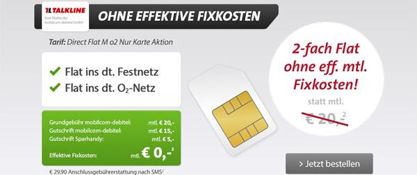 O2 Direct Flat M zwei Jahre lang für effektiv 0,19 € statt 480 € bei Sparhandy