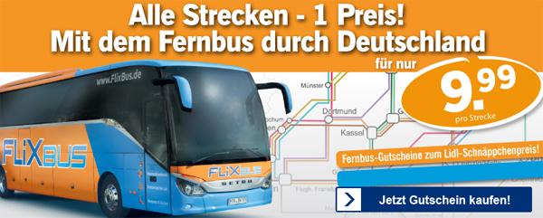 Super! FlixBus-Gutscheine bei Lidl für je 9,99 € pro Strecke *Update*