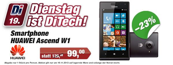 """Windows Phone Huawei Ascend W1 (4"""", Dual-Core, 4 GB) für 99 € bei DiTech"""