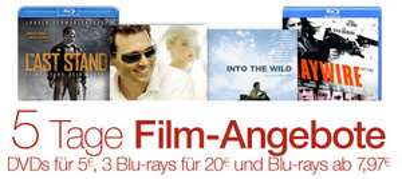 5 Tage Film-Angebote bei Amazon mit DVDs für je 5 € und 3 Blu-rays für zusammen 20 €