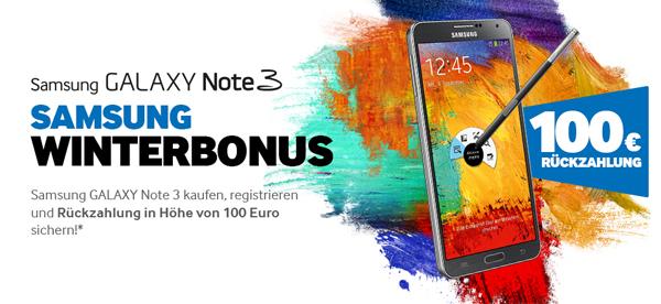 100 € Cashback auf das Android-Phablet Samsung Galaxy Note 3 - jetzt ab effektiv 450 €!