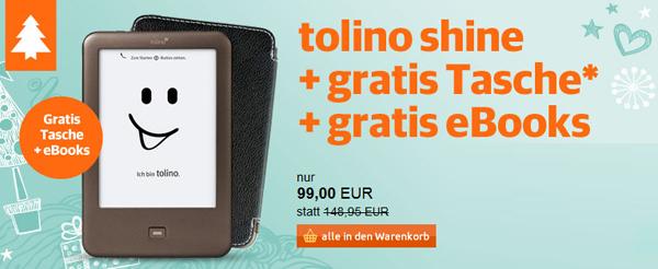 eBook-Reader Tolino Shine + Schutzhülle + 4 eBooks für 99 € - 31% sparen