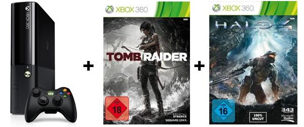 Top! Xbox 360 (250 GB) + Tomb Raider + Halo 4 für 169,99 € - 20% sparen