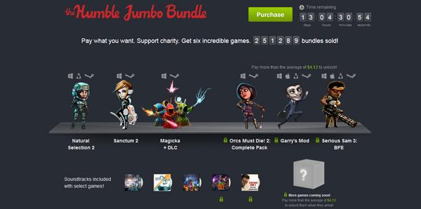 The Humble Jumbo Bundle mit Spielen zum selbst gewählten Preis - z.B. Garry's Mod oder Serious Sam 3