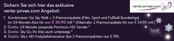 Sky Deutschland: Komplettpaket mit Sky Go, HD-Sendern & HD-Festplattenreceiver 2 Jahre für 34,90 €/Monat