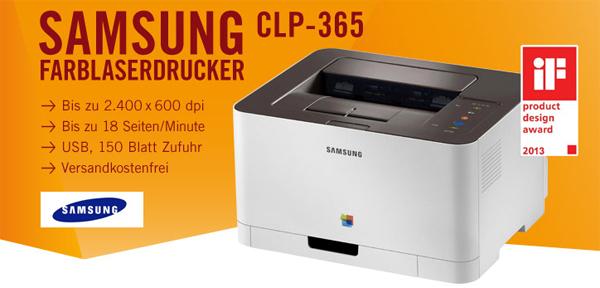 Günstiger Farblaserdrucker: Samsung CLP-365 für 92,89 € *Update* jetzt für 85 € - 17% sparen