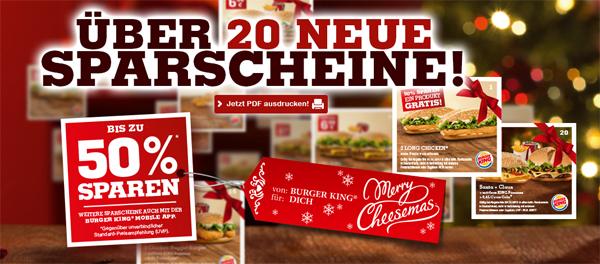Neue Gutscheine für Burger King Deutschland – bis 10. Januar 2014 - bis zu 50% sparen