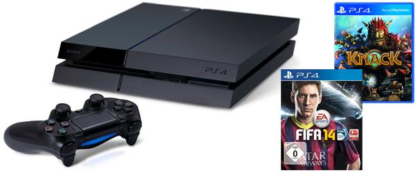 Sofort lieferbar! Sony PlayStation 4 (500 GB) + Knack + FIFA 14 für 528 € bei Saturn