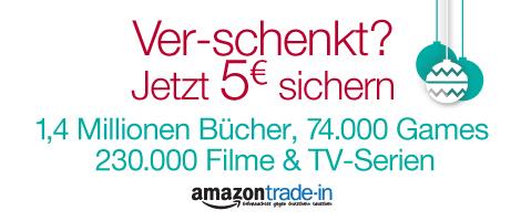 Für 5 € bei Amazon Trade-In eintauschen und 5 € Gutschein dazu erhalten