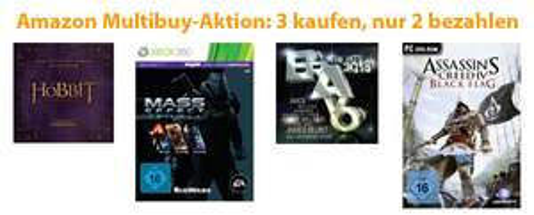 Amazon: 3 für 2-Aktion für Spiele, Filme, Software und Musik
