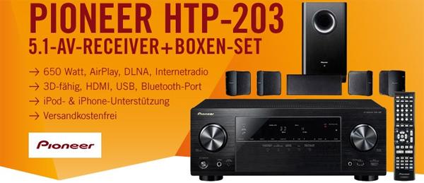3D-Heimkinosystem Pioneer HTP-203 (AV-Receiver + Boxenset) für 329 € *Update* jetzt 18% sparen