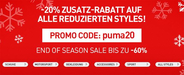 Sale im Online-Shop von Puma mit bis zu 60% Rabatt und zusätzlich 20% sparen mit Gutschein