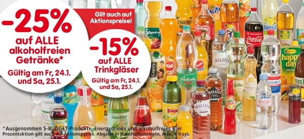 25% Rabatt auf Biere und Beertender bei Merkur & 25% Rabatt auf alkoholfreie Getränke bei Spar