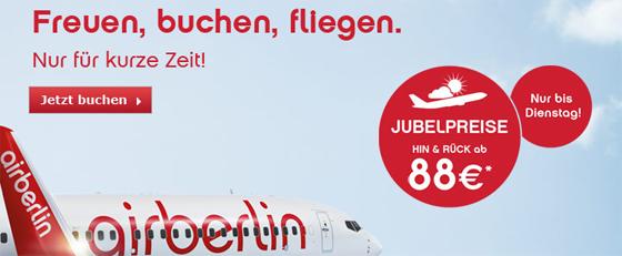 Jubelpreise bei AirBerlin mit europaweiten Hin- und Rückflügen ab 88 €