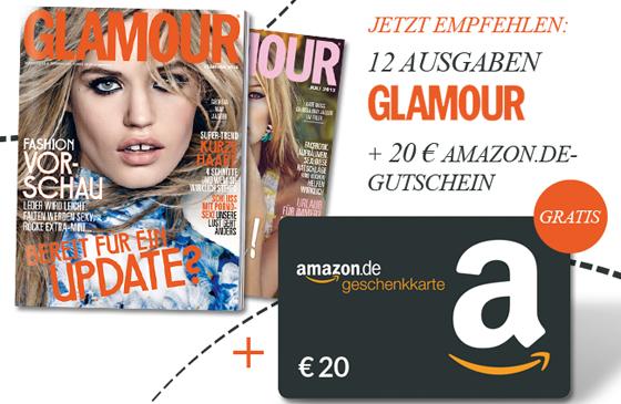 Glamour-Jahresabo für effektiv 4,60 € durch 20 € Amazon-Gutschein - 81% sparen
