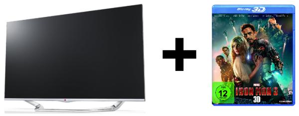 LED-Backlight-TV LG 42LA7408 (3D, WLAN, Triple-Tuner, Smart TV) + Iron Man 3 (3D Blu-ray) für 699 €