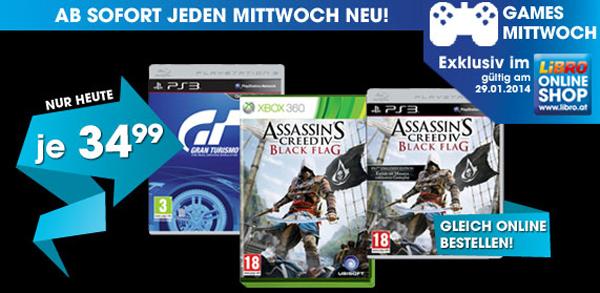 Libro: Assassin's Creed IV: Black Flag (PS3, Xbox 360) und Gran Turismo 6 (PS3) für je 34,99 €