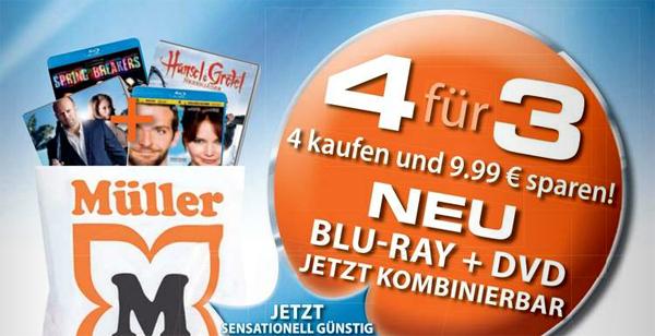 Müller vs. Amazon: 4 DVDs oder Blu-rays kaufen, nur 3 davon bezahlen