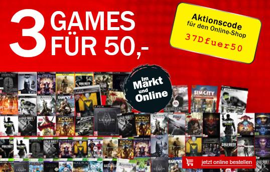 Media Markt Österreich: 3 Spiele (PC, Xbox 360, PS3) kaufen und 50 € bezahlen