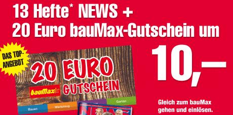 20€ Baumax Gutschein + 13 x News für 13€