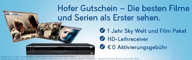 Hofer: 12 Monate Sky Welt + Premium-Paket + HD-Receiver für 249 € - 38% sparen