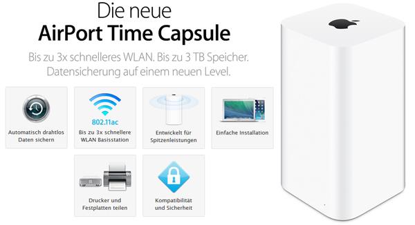 Apple AirPort Time Capsule - WLAN-Basisstation mit 3 TB Speicher für 280 € - 17% sparen
