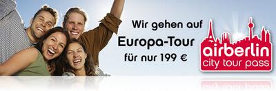 """""""AirBerlin City Tour Pass"""" für junge Leute: 5 EU-Flüge für 199€"""