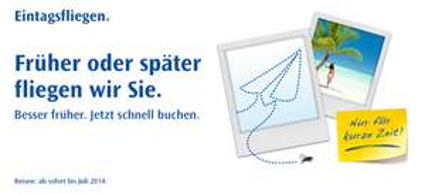 Flugangebote: Condor Eintagsfliegen bis Sonntag mit One-Way-Tickets ab 49,99 €