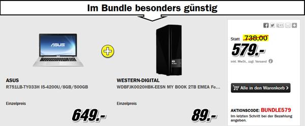 "17,3""-Notebook Asus R751LB-TY033H + USB-3.0-Festplatte WD My Book (2 TB) für 579 €"