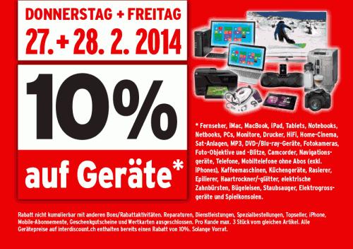 Für Grenzgänger: 10% Rabatt auf Geräte bei Interdiscount - z.B. Sony Xperia Z1 Compact um 369 €