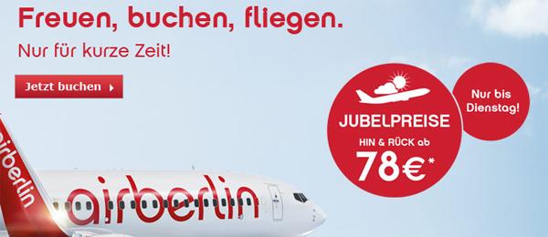 AirBerlin: Jubelpreise mit europaweiten Hin- und Rückflügen ab 78 €
