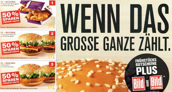 McDonald's Deutschland - neues Gutscheinheft vom 05. bis 30. März 2014