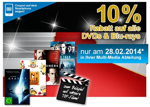 Müller: 10% Rabatt auf alle DVDs und Blu-rays - aber nur heute