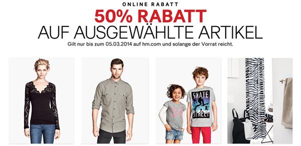 50% Rabatt auf ausgewählte Artikel bei H&M und zusätzlich sparen mit Gutscheinen