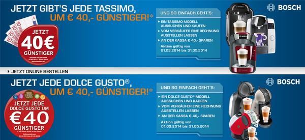 40 € Rabatt auf Tassimo & Dolce Gusto-Maschinen bei Media Markt und Saturn