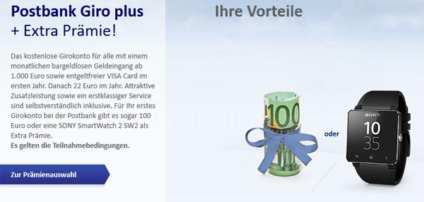 Postbank Giro plus-Konto mit 100 € Startguthaben oder Sony SmartWatch 2