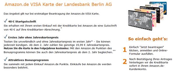 Amazon VISA-Kreditkarte beantragen und 40 € Startgutschrift gratis erhalten
