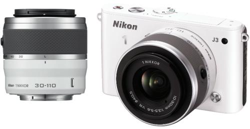 Nikon 1 J3 in weiß mit Objektiven VR 10-30mm + VR 30-110mm um 349 € - bis zu 35% sparen