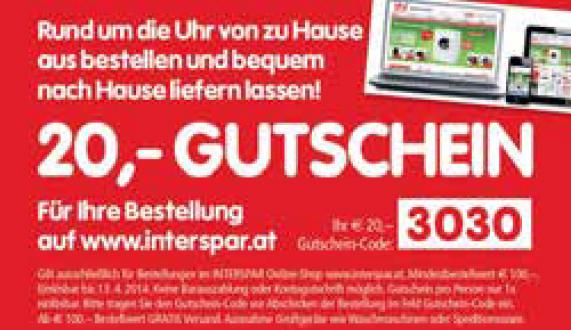 20 € Gutschein für Interspar mit 100 € Mindestbestellwert