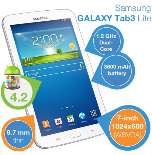 Samsung Galaxy Tab 3 Lite (7 Zoll, 8 GB, WiFi) um 105,90 € - bis zu 25% sparen