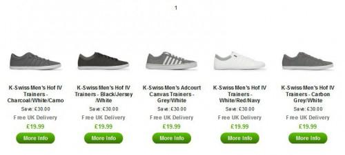 Verschiedene K-Swiss Schuhe für 23,95 € inkl. Versand - bis zu 40% sparen