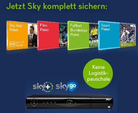 Sky Deutschland: 2 Jahre Komplettpaket mit Sky Go, HD-Sendern und HD-Festplattenreceiver um mtl. 34,90 €