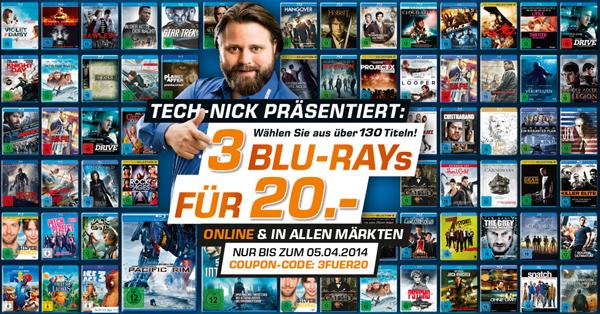 3 Blu-rays für zusammen 20 € bei Saturn Deutschland